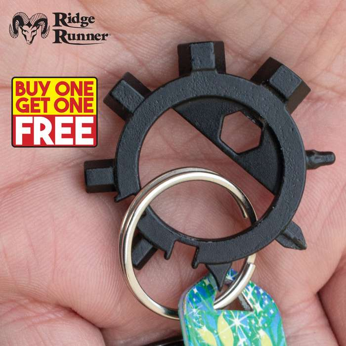 "Ridge Runner 12-In-1 Tool Octopus Keychain - Tough Metal Construction, Removable Phillips Bit - Diameter 1 1/2"" - BOGO"