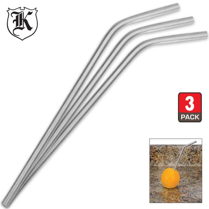 Hornet Stainless Steel Drinking Straws -  3-Pack