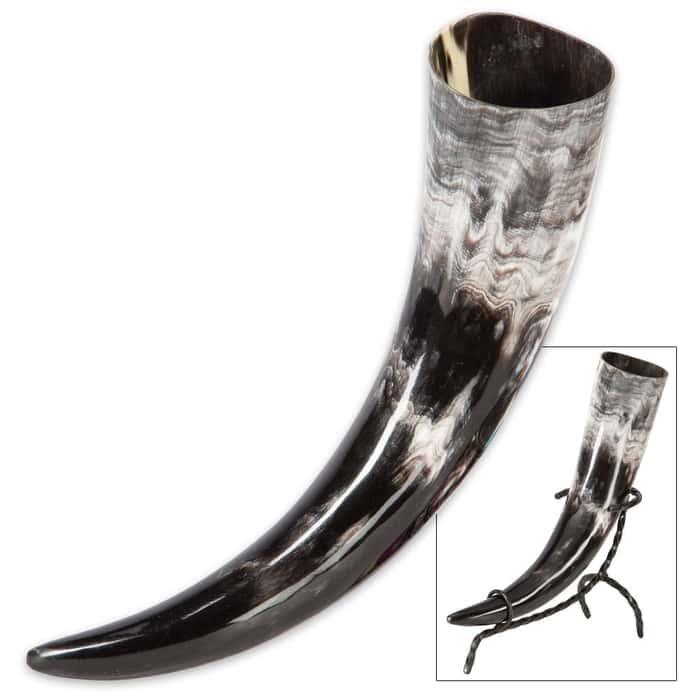 Viking Berserker Natural Ale / Drinking Horn with Metal Display Stand