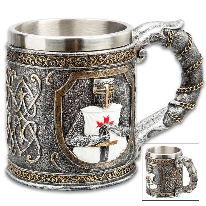 """Crusader Knight Mug And Tankard - Crafted Of Cold Cast Resin, 3-D Relief, Exquisitely Painted, Stainless Steel Liner - Dimensions 4 1/4""""x 6"""""""