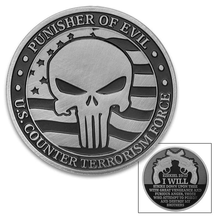 """Punisher Of Evil Challenge Coin - Crafted Of Metal Alloy, Detailed 3D Relief On Each Side, Collectible - Diameter 1 5/8"""""""