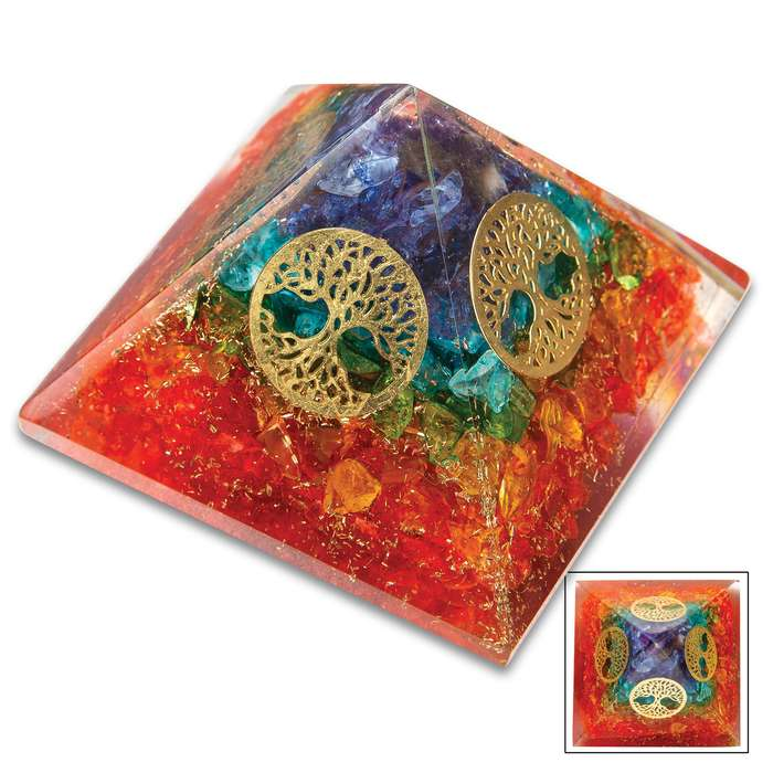 Orgonite Chakra Tree Of Life Pyramid - Crafted Of Genuine Healing Crystals, Adds Beauty And Balance, Encourages Better Health