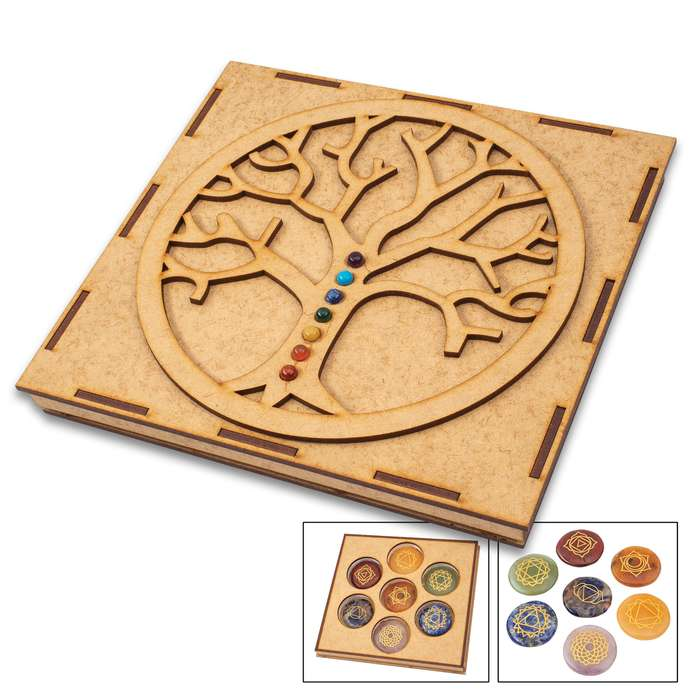 Chakra Engraved Disk Set In Tree Of Life Box - Crafted Of Genuine Healing Stones, Engraved Symbols, Adds Beauty And Balance