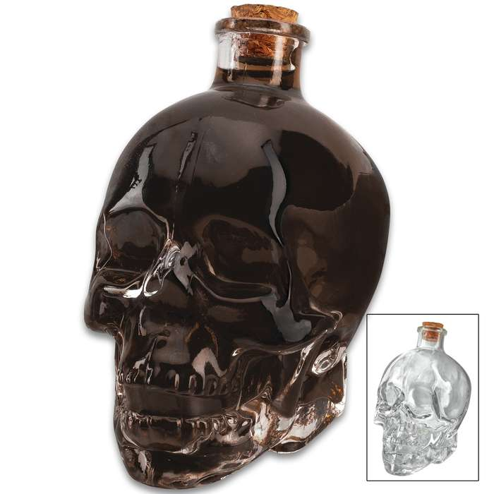 "Glass Skull Decanter With Cork Stopper - One-Piece Quality Sculpted Glass, Highly Detailed - Dimensions 5""x 3 1/4""x 5 3/4"""