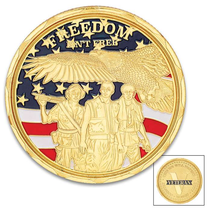 """Veteran Tribute Challenge Coin - Crafted Of Metal Alloy, Detailed 3D Relief On Each Side, Collectible - Diameter 1 5/8"""""""