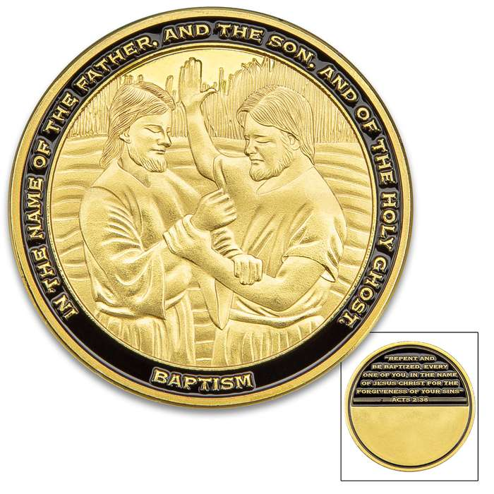 "Baptism Challenge Coin - Metal Alloy Construction, Bronze Finish, Detailed 3D Relief, Bible Verse - Diameter 1 5/8"" Engravable"