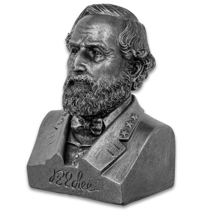 """Robert E Lee Bust - Crafted Of Polyresin, Realistic Details, Authentic Signature, Collectible Display Piece - Dimensions 6 1/2""""x 4 1/4""""x 3 1/2"""""""