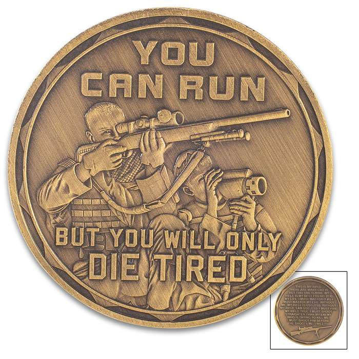 Sniper Challenge Coin - Antique Brass Finish, Crafted Of Metal Alloy, Detailed 3D Relief On Each Side - Dimension 1 5/8""