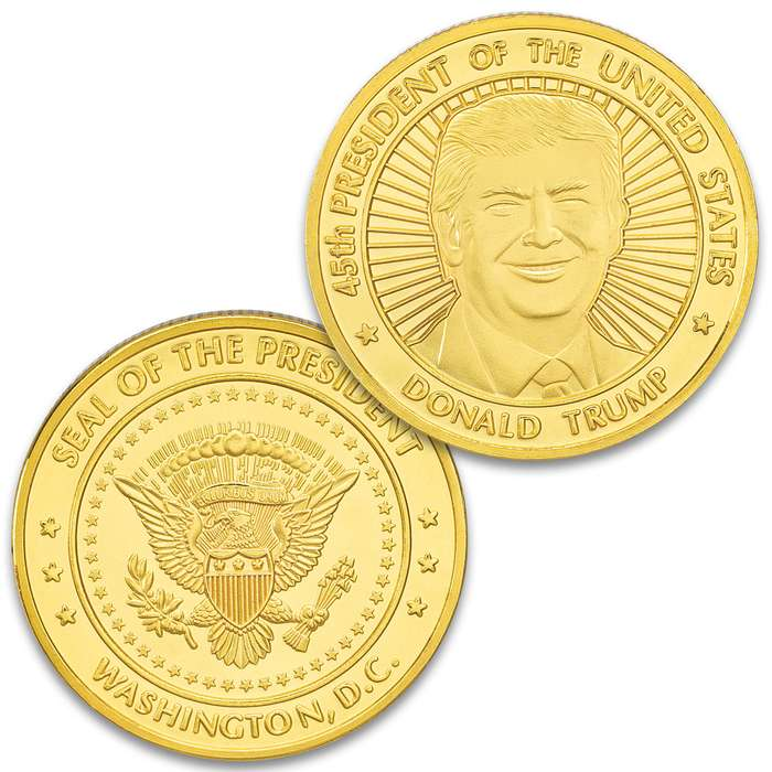 """President Trump Gold Coin - Crafted Of Metal-Alloy, Gold-Plated, Collector's Item, Intricate Detail, 40 mm - Dimensions 1 1/2"""""""