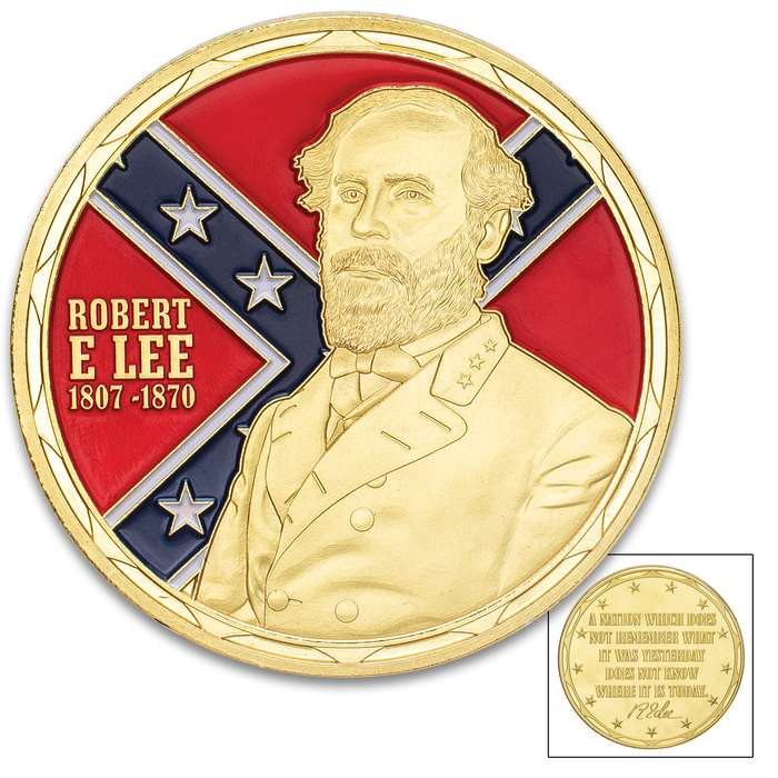 """Robert E Lee Challenge Coin - Crafted Of Metal Alloy, Detailed 3D Relief On Each Side, Collectible - Diameter 1 5/8"""""""