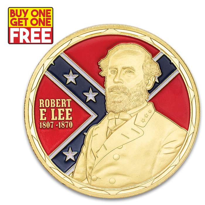 "Robert E Lee Challenge Coin - Crafted Of Metal Alloy, Detailed 3D Relief On Each Side, Collectible - Diameter 1 5/8"" - BOGO"