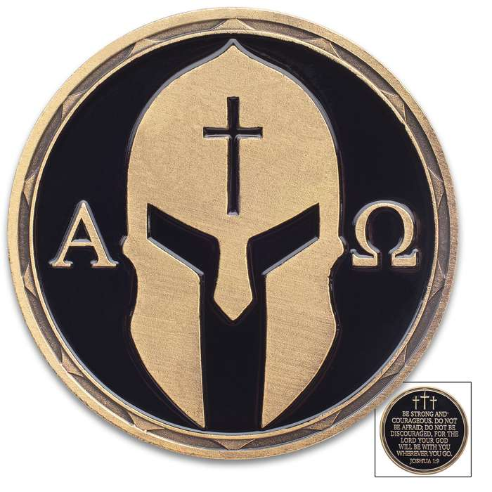 """Christian Warrior Challenge Coin - Alpha And Omega - Joshua 1:9 - Crafted Of Metal Alloy, Detailed 3D Relief On Each Side, Antique Brass Finish, Diameter 1 1/2"""""""