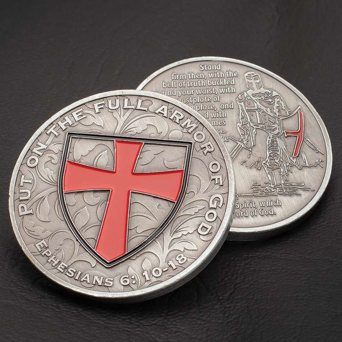 2019 Armor Of God Coin - Crafted Of Metal Alloy, Detailed 3D Relief On Each Side, Collectible - Diameter 1 5/8""