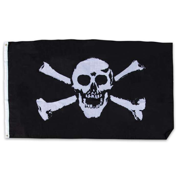 Are you a pirate at heart! Then, proudly display this awesome Jolly Roger flag on your property