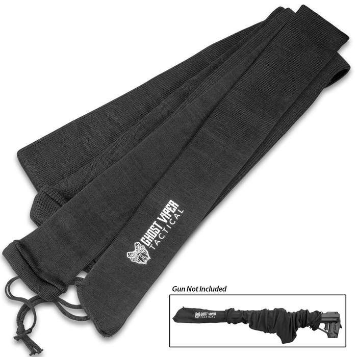 "Ghost Viper Tactical Black Gun Sock - Rifle Or Shotgun, Silicone-Treated Knit Fabric, Moisture-Resistant, Drawstring - Length 54"""