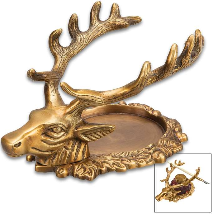 """Antiqued Brass Stag Inkwell Stand - Solid Brass Construction, Highly Detailed, Pen Holder - Dimensions 6 1/2""""x 4""""x 3 1/2"""""""