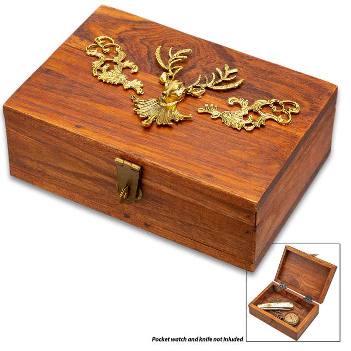 "Wooden Trinket Box With Deer Head Design - Brass Artwork, Brass Fittings, Hinged Lid - Dimensions 6 1/2""x 3 1/2""x 2 1/2"""