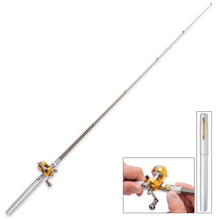 Silver Fishing Pen - Compact Rod And Reel, Aluminum Alloy And Fiberglass Construction, Realistic Pen Case, Rod Expands To 38""