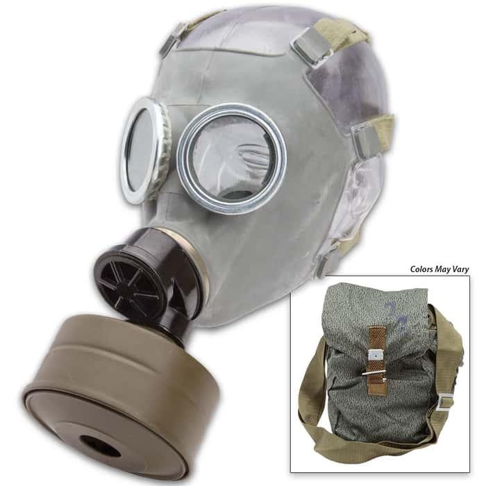 Surplus Polish MC-1 Gas Mask w/ Filter and Camo Bag