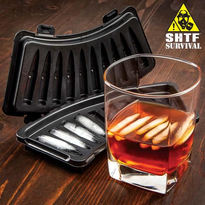 SHTF AK-47 Bullet Ice Tray - BPA-Free Hard Plastic Construction, Makes Ten Ice Cubes, Dishwasher Safe, Great Gift Idea