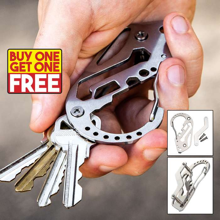 "Multi-Function Carabiner Key Organizer - Stainless Steel Construction, Wrench, Screwdriver, Bottle Opener - Dimensions 3 1/4""x 2"" - BOGO"