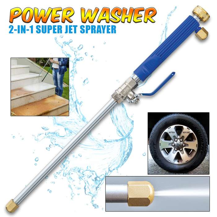 """Power Washer Water Jet - Easily Connects To Water Hose, Aluminum And Stainless Steel Construction, Two Brass Tips - Length 18"""""""