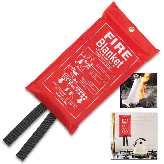 Emergency Fire Blanket - 100 Percent Glass Fabric Construction, Nylon Webbing Pull Tapes, Nylon Bag With Hanging Grommet - Dimensions 3'x 3'
