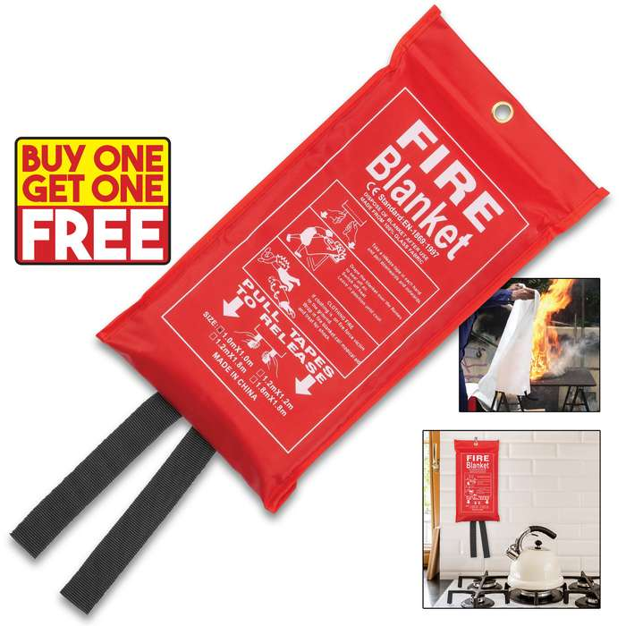 Emergency Fire Blanket - 100 Percent Glass Fabric Construction, Nylon Webbing Pull Tapes, Nylon Bag With Hanging Grommet - Dimensions 3'x 3' - BOGO