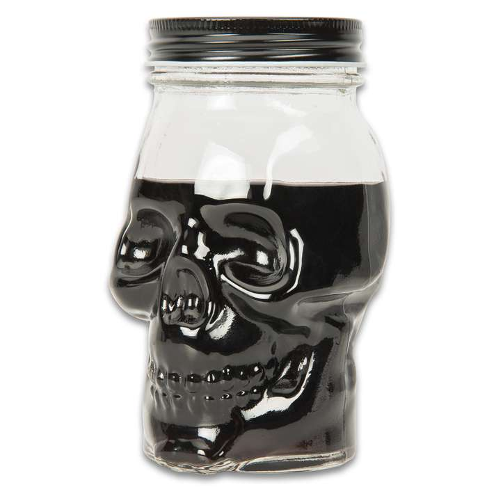 """Skull Head Mason Jar - Two-Pack, One Solid Piece Of Glass, 16-Ounce Capacity, Sturdy Metal Lid - 6"""" Tall"""