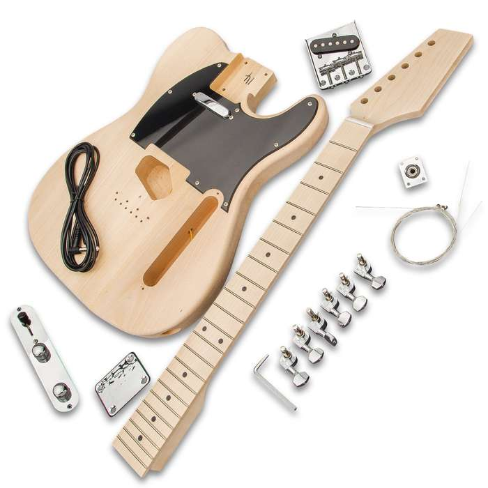 This high-quality, DIY Telecaster Electric Guitar Kit includes all the parts to build a complete, playable electric guitar