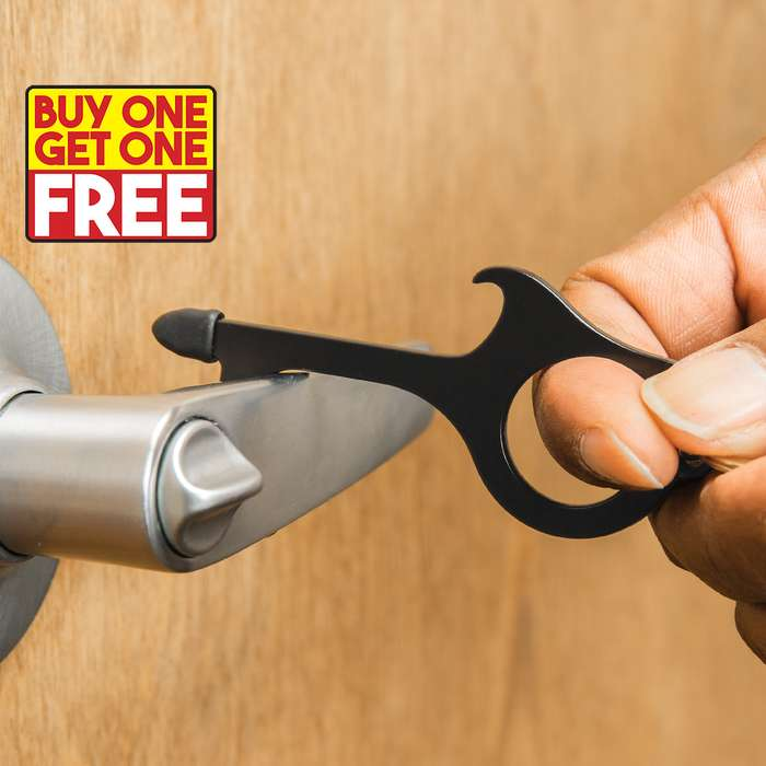 If you've ever used the tail of your shirt or elbow to try and open a public bathroom door, you need our Touch Free Key Chain