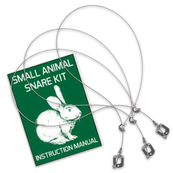 This snare kit will capture small animals like rabbits and squirrels, as well as, larger animals like groundhog or woodchuck