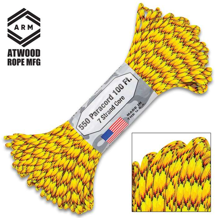 100-Ft Of All-Purpose 550 Paracord - Lightweight, Strong, Versatile, Seven-Strand Core, Rot-Resistant, Made In USA