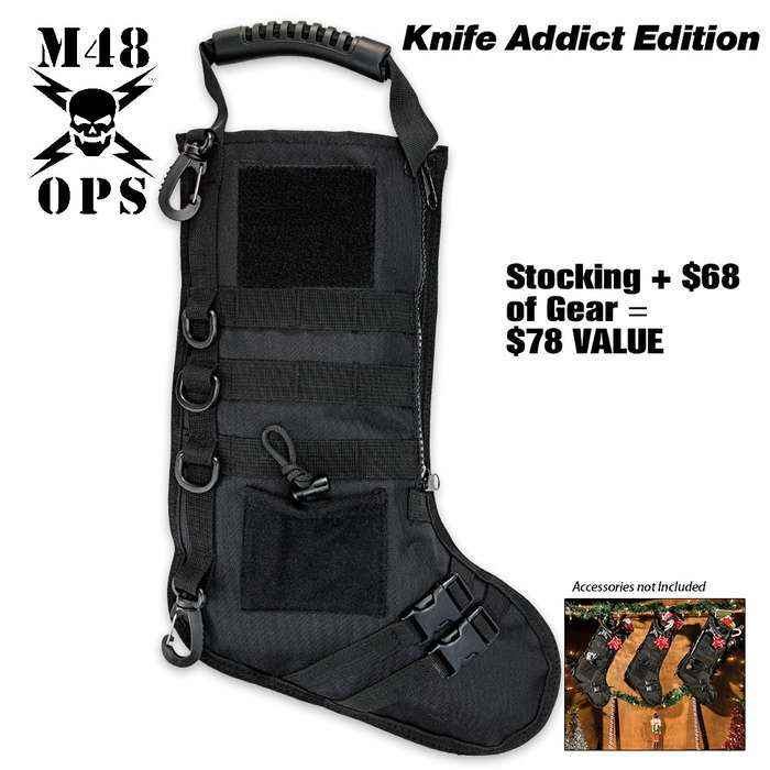 M48 Tactical Stuffed Stocking, Knife Addict Edition - Filled with $68 in Folders, Fixed Blade Knives