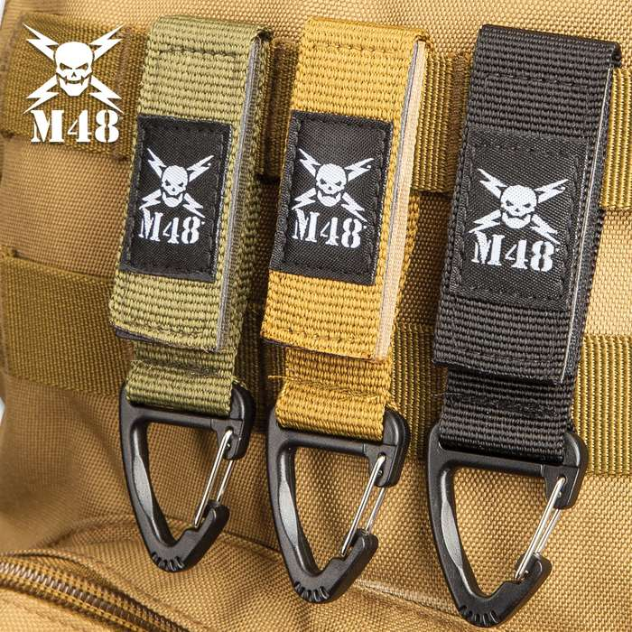 """Three-Pack Black Tactical Clips - Nylon Webbing And ABS Construction - Dimensions 4""""x 1"""""""