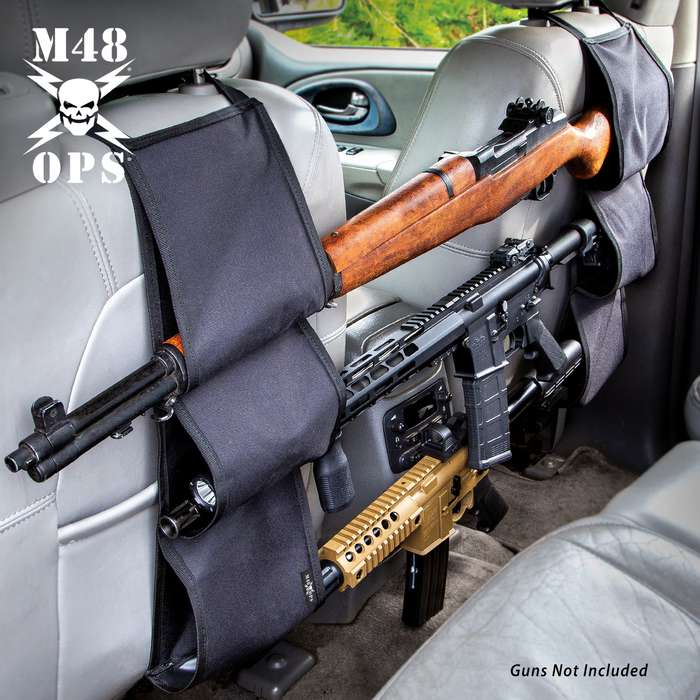 "M48 Back Seat Gun Rack - Nylon Canvas Construction, Interior Padding, Bungee Cords, Holds Three Rifles, Nylon Webbing Straps - Dimensions 21""x 7 1/10"""