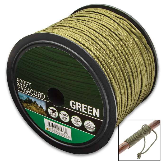 The Survivor Series Green 7-Strand 550 Paracord 500' Spool is multi-purpose and is made for extremely versatile use