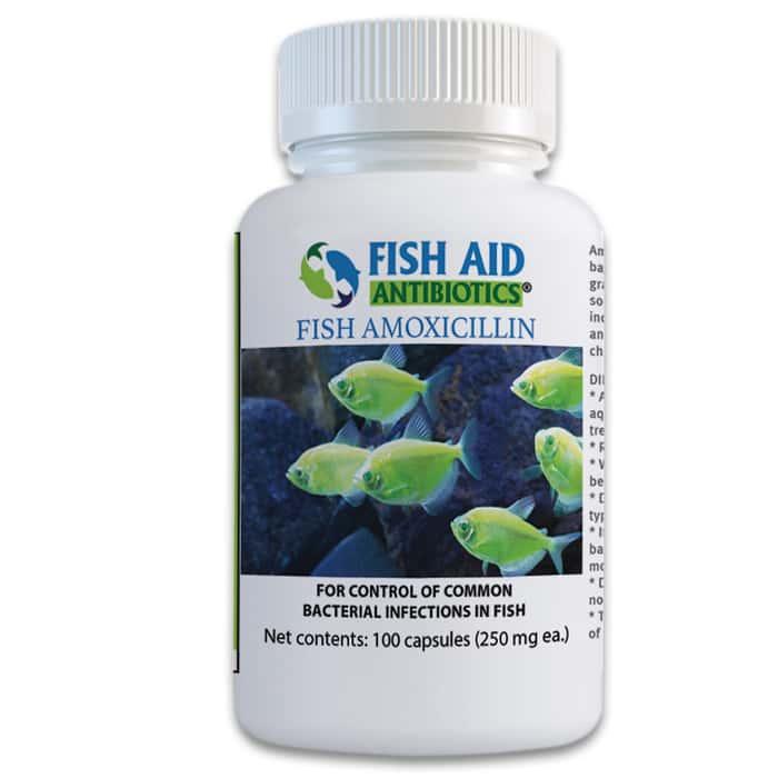 Fish 250 mg Amoxicillin Antibiotics - 100 Capsules