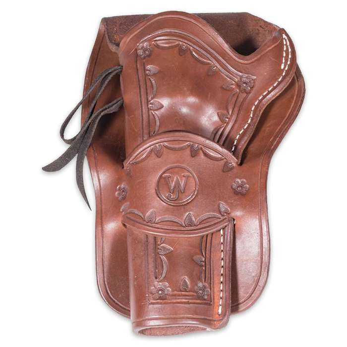 Western Justice Hand-Tooled Mahogany Leather Holster - Right Hand