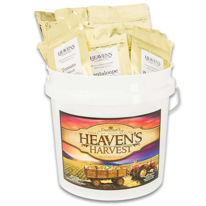 The Wise Heirloom Vegetable Seed Bucket contains only 100% heirloom vegetable survival seeds that can reproduce and have stood the test of time