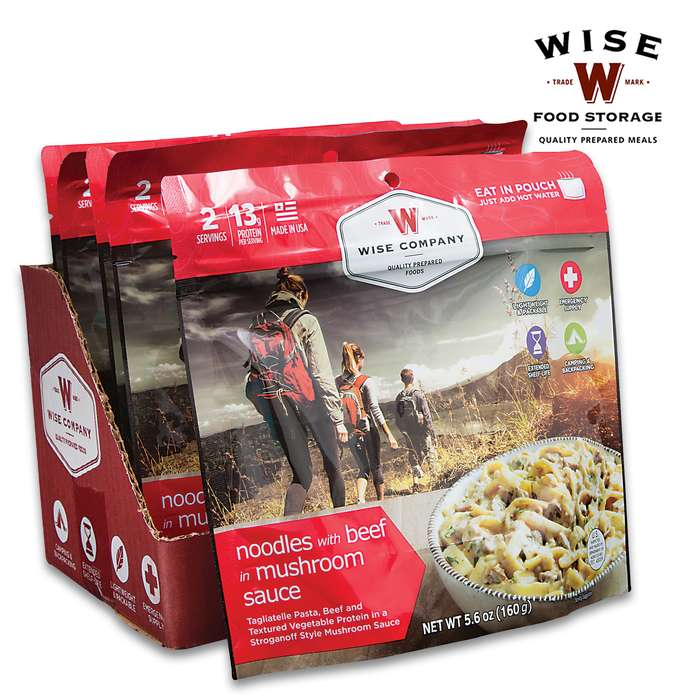 Wise Noodles And Beef With Mushroom Sauce - Two Servings, 17 Grams Protein, Seven-Year Shelf-Life, 4,440 Calories, Made In USA