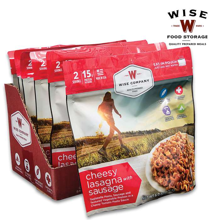 Wise Cheesy Lasagna - Two Servings, 15 Grams Protein, Seven-Year Shelf-Life, 720 Calories, Made In USA