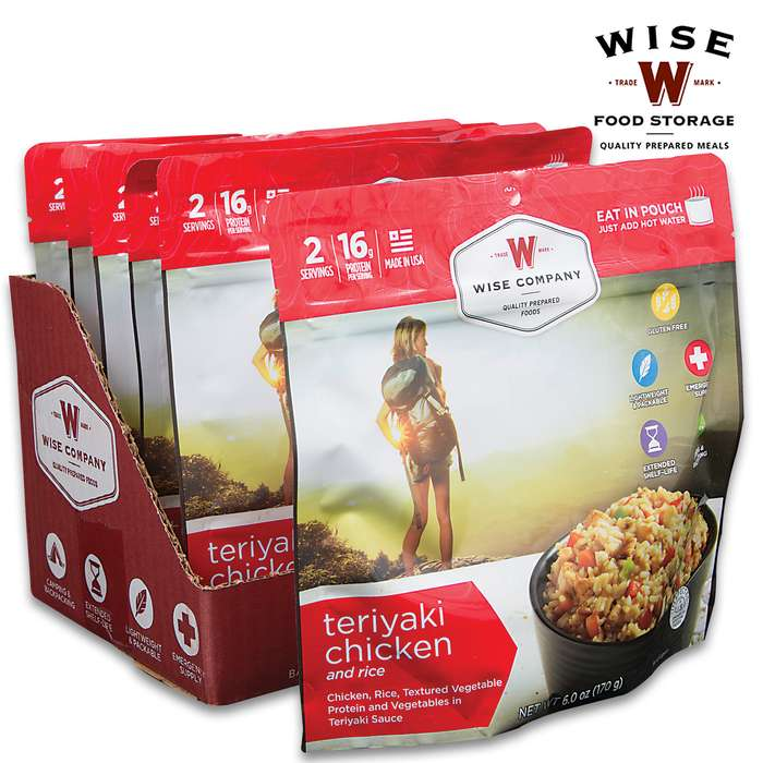 Wise Teriyaki Chicken And Rice - Two Servings, 15 Grams Protein, Seven-Year Shelf-Life, 3,720 Calories, Made In USA