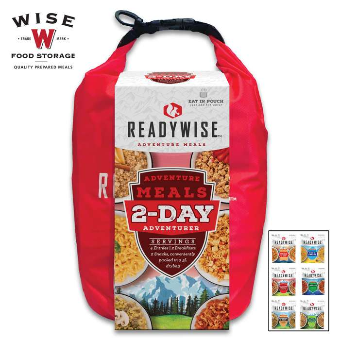 ReadyWise Two-Day Adventure Kit With Dry Bag - Four Entrees, Two Breakfasts, Two Snacks, Add Water, Ready In Minutes