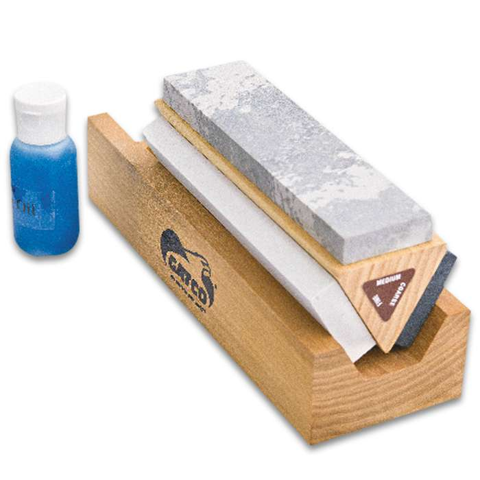 Gatco Arkansas Tri-Hone Sharpening System - 100 Percent Natural Stone, Wooden Triangle Base, Honing Oil Included