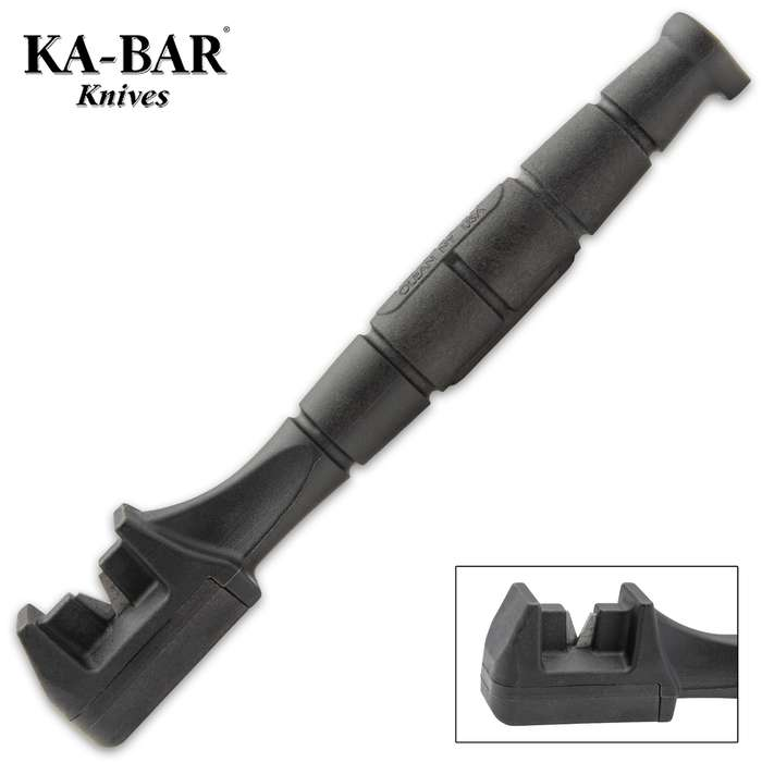 The KA-BAR Knife Sharpener is a portable sharpening tool that is small enough to carry in your pocket