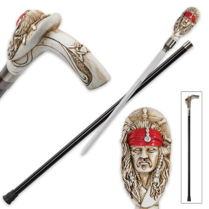 Pirate Head Sword Cane