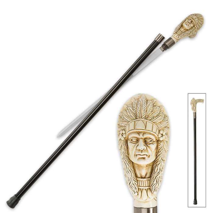 Indian Chief Sword Cane