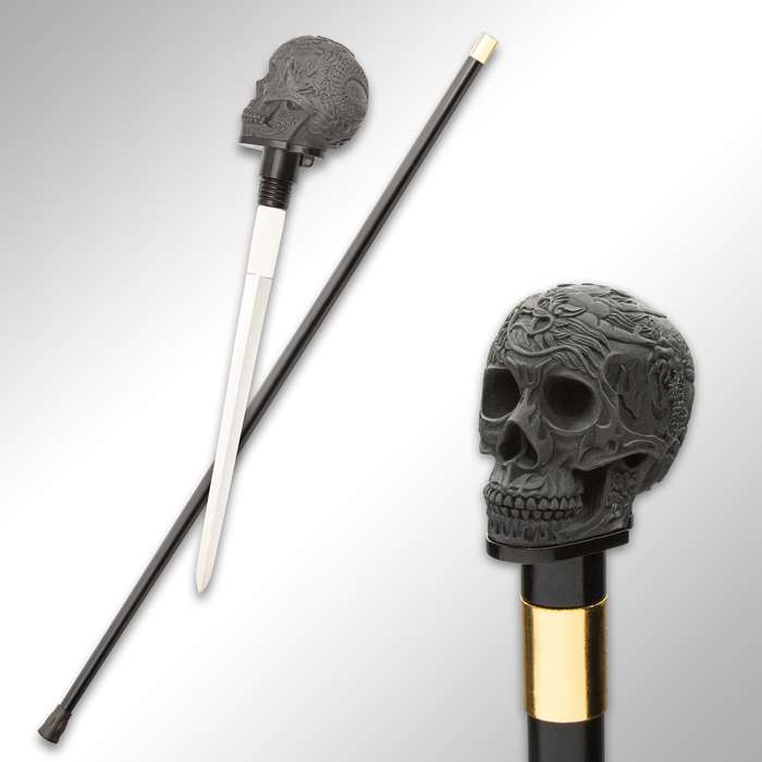 Chinese Dragon Skull Head Sword Cane - Stainless Steel Blade, Resin Handle, Aluminum Shaft, Rubber Toe - Length 37""