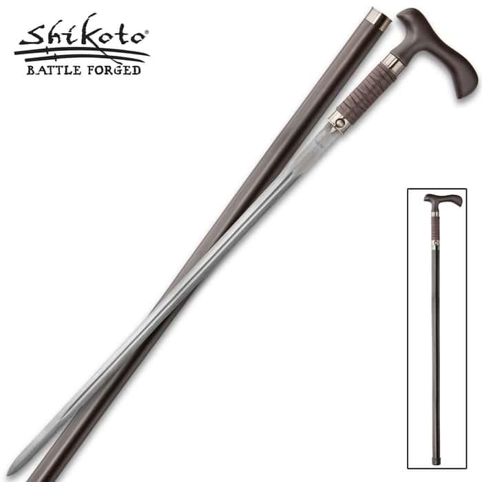 Shikoto Rurousha Forged Sword Cane Damascus